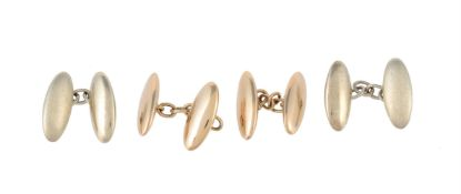 Two pairs of 9 carat gold cufflinks