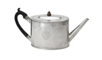 Y A George III silver straight sided oval tea pot by William Vincent