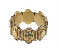 A mid Victorian silver gilt archaeological revival bracelet