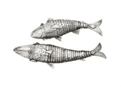 Two silver coloured articulated fish scent bottles
