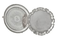 A Victorian silver circular waiter by Martin, Hall & Co.