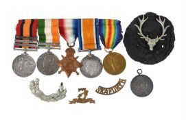 South Africa Pair and Great War Trio to 5859 Pte A Gibson Seaforth Highlanders