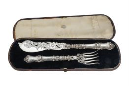 A pair of cased Victorian silver fish servers by Hilliard & Thomason