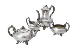 Y A Victorian silver baluster four piece tea set by Joseph & Albert Savory