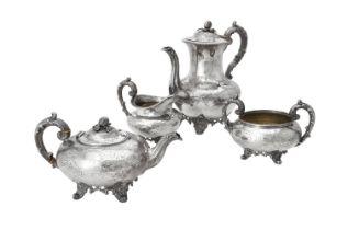 Y A Victorian silver baluster four piece tea set by Joseph & Albert Savory