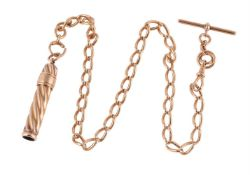 An early 20th century 18 carat gold curb link Albert chain