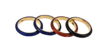 Four enamelled band rings