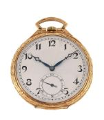 Marc Favre,18 carat gold open face keyless wind pocket watch