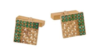 A pair of emerald cufflinks