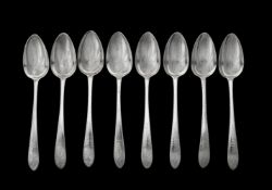 A set of eight George III Irish silver pointed Old English pattern table spoons by John Osborne