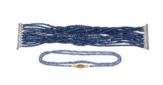 A sapphire bead necklace with diamond clasp