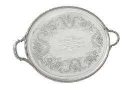 A Victorian silver twin handled oval tray by Elkington & Co. Ltd.