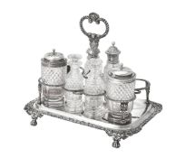 A George III rectangular eight-bottle cruet frame by Thomas Wilkes Barker