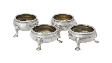 A pair of George III silver cauldron salts