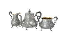 Y A Victorian silver three piece baluster tea set by Daniel & Charles Houle