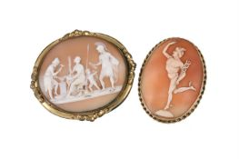 A mid Victorian shell cameo brooch
