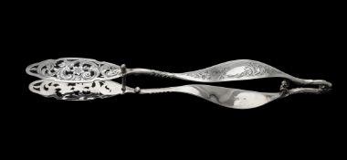 A pair of Victorian silver asparagus tongs