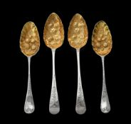A pair of George IV silver Old English pattern dessert spoons by William Seaman