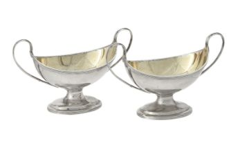 A pair of George III silver oval salts by Charles Chesterman II