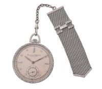 International Watch Co. (IWC),Platinum coloured and diamond slim line keyless wind open face pocket