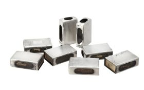 Eight silver rectangular matchbox holders