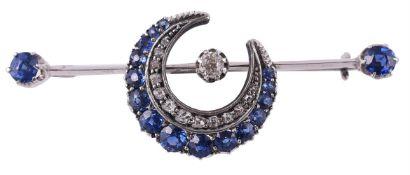 A Victorian sapphire and diamond crescent bar brooch