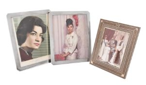 [Pahlavi Interest] A 1960s Persian khatam inlaid photograph frame with a Pahlavi crown to the top ce
