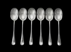 A set of six Edwardian silver Hanoverian pattern table spoons by Walker & Hall