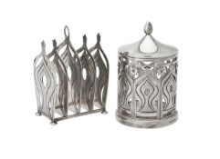 A silver toast rack and jam jar by Grant MacDonald Silversmiths
