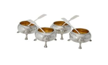 A set of four Victorian silver cauldron salts by Richards & Brown