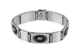A silver and turquoise bracelet by Henry Pilstrup for Georg Jensen, circa 1940