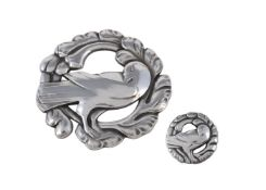 A silver coloured Dove brooch by Kristian Mohl-Hansen for Georg Jensen, circa 1940