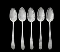 A set of five George Irish silver pointed Old English pattern table spoons by John Pittar