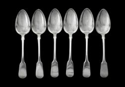 A set of six William IV silver fiddle pattern table spoons