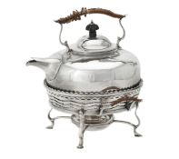 A late Victorian silver circular kettle on stand by George Nathan & Ridley Hayes