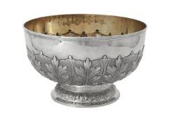 A Victorian silver circular pedestal punch bowl by Charles Stuart Harris