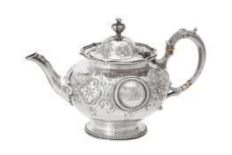 Y A Victorian silver circular tea pot