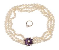 A three row cultured pearl necklace