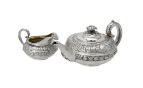 Y A George IV silver circular tea pot and cream jug by Rebecca Emes & Edward Barnard I