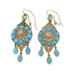 A pair of early 20th century turquoise and diamond ear pendants