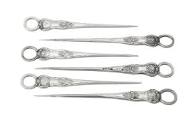 A set of six Victorian silver King's pattern poultry skewers by Chawner & Co. (George William Adams)