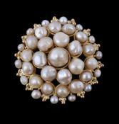 A pearl cluster brooch