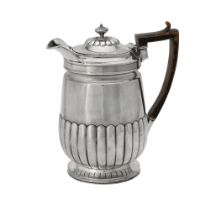 A George III silver half fluted coffee pot by Rebecca Emes and Edward Barnard I