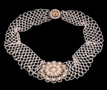 Y A late George III seed pearl and topaz necklace