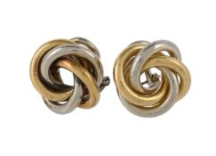A pair of Italian two colour knot ear clips