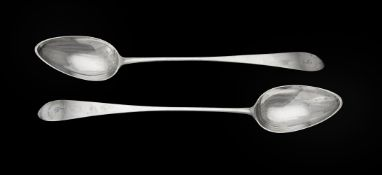 A pair of George III silver pointed Old English pattern serving spoons by William & Patrick Cunningh