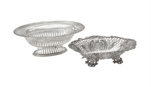 A Victorian silver shaped oval dish by William Hutton & Sons