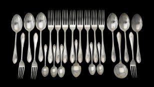 A silver Sandringham pattern part table service by Viner's Ltd.