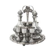 An Austrian silver liquor stand