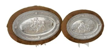 Two continental silver coloured oval dishes